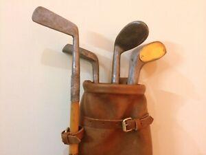12 pcs   Vintage Tan Leather Golf Club Bag, Clubs, Balls & Ball Bag   Geoffrey