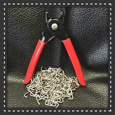 """Pliers (Lg) and 200 Stainless Steel Hog Rings 3/4"""" Seat Covers fences cages tags"""