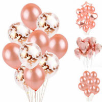 Rose Gold Series Foil Latex Balloon Helium Star Birthday Party Wedding Decor UK