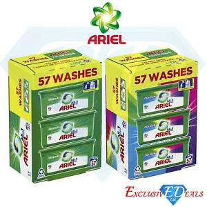 Ariel 3in1 Pods 57 Pack Washes Washing Laundry Capsules Bio Colour HD Big Pack