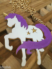 Unicorn Acrylic Glitter/Sparkly Kawaii Statement Gold Chain Necklace