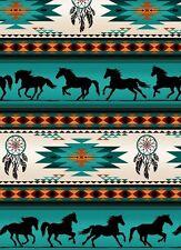 Elizabeth's Studio cotton quilt fabric-TUCSON-galloping horses-southwest-4 yards