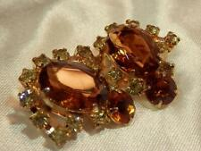HUGE Eye Catching Sparkling Amber & Ice Vintage 1950's Clip On Earrings  893jl9
