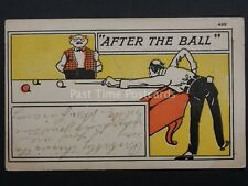 Billiards Snooker Theme AFTER THE BALL c1908 UB - Old Postcard