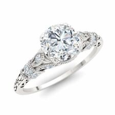 CERTIFIED 1.11 Ct Real Diamond Art Deco Engagement Ring 14k White Gold Sz 5