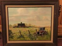 ORIGINAL VINTAGE MID CENTURY COUNTRY/FARM PAINTING SIGNED P. BEEBE-Done in 1989