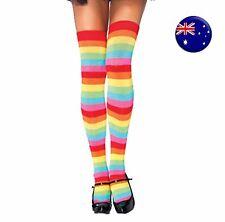 Women Girl Rainbow colorful Stripe thin Long Over Knee Socks Tights Stockings