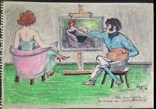 Werner Knoth colorierte dibujo original firmado única pieza única obra de arte