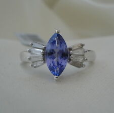 1.15ct AA Marquise Tanzanite & Diamond White Gold Engagement Ring