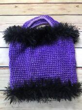 Purple Furry Trim Purse Knit Small Handbag Purse Boho Hippie