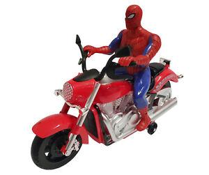 Spiderman Electric Rotation Music Light Kids Toys Xmas Gift Bump & Go Motorbike