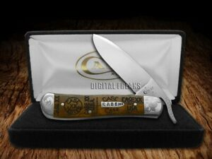 Case xx Russlock Knife Curly Oak Wood Scrolled 1/250 Tang Stamps Stainless