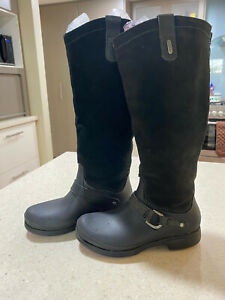 CROCS Black Suede Rubber Equestrian Tall boots size 5 As New