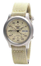 Seiko Automatic SNK803K2 Mens Beige Dial Day Date Nylon Strap Watch