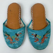 Vintage Children's Asian Oriental Blue Slippers Shoes Chinese Hong Kong Dragons