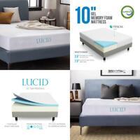 10 in Orthopedic Gel Memory Foam Mattress Queen Size Firm Bedroom Comfort Sleep