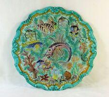 Grand plat en céramique CERART MONACO Décor de poissons rascasses corail 1950's