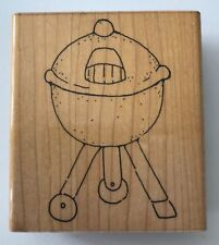 Kettle Barbecue Rubber Stamp by JRL Design 3.25 x 2 Wood Mounted