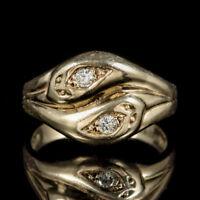 VINTAGE DIAMOND SNAKE RING 9CT GOLD WEDDING BAND