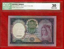 "Portugal 1000 Escudos Banknote 1961, P-166, ICG 30, VERY FINE ""FILIPA LENCASTRE"""