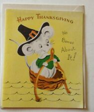 VINTAGE THANKSGIVING CARD WITH ENVELOPE UNUSED NO BONES ABOUT IT