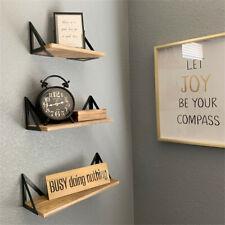Set of 3 Corner Wall Shelves Industrial Style Metal Wood Shelving Shelf Storage