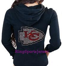 Kansas City Chiefs Bling Rhinestone Zipper Hoodie Sweater