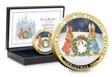 Peter Rabbit and the Christmas Wreath Gold-plated Medal new boxed