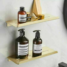 Wall Mounted Double Brushed Gold Shower Caddy Bathroom Rectangle Storage Shelves