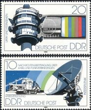 Germany (DDR) 1980 Communications/TV/Radio Tower/Dish Aerial 2v set (s144h)