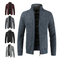 Mens Winter Warm Slim Sweater Knitted Cardigan Jumper Zip Fleece Lined Coat