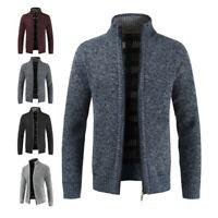 Mens Winter Warm Slim Sweater Knitted Cardigan Jumper Zip Fleece Lined Coat