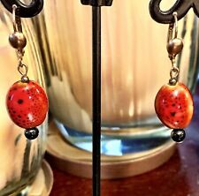 D. Wiltz Ceramic & Black Tourmaline Dangle Speckled Ladybug Earrings Brand New