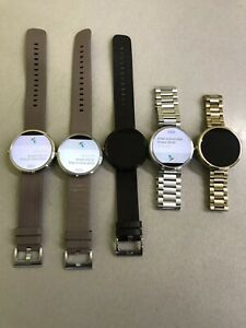 5 Motorola Moto360 Moto 360 1st Gen Smartwatch Leather Metal Band Android Wear