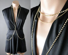 Rhinestone Summer Beach Bikini Jewelry Gold Metal Necklace Crossover Body Chain