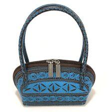Banda Handcrafted Embroidered Womens Handle Mini Dome Bag Shiny Brown Blue Vegan