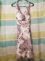 White House Black Market Purple And White Floral Sleeveless Dress Size 2 NWT