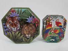 Tropical Wild Safari Jungle Tiger Lion Parrots Metal Candy Cookie Tins Set Of 2