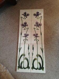 Art Nouveau Raised Embossed Fireplace Surround Panels/Tiles ~ Iris Pattern ~ NEW