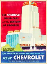 GM Chevrolet Detroit Michigan United States Vintage Travel Art Poster Print