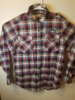 Swagnificent Raw Blue Red Plaid Long Sleeve Button Front Mens Shirt Size Large