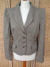 RONIT ZILKHA Sz 14 Beige Brown Pinstriped Military Blazer Power Shoulder Jacket