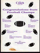 2000 Texas Coach Magazine January State Football Champs 19332