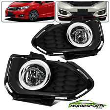 [GLASS] For 2018 2019 Honda Fit Chrome Trim  Bumper Fog Lights+Wiring&Switch Kit