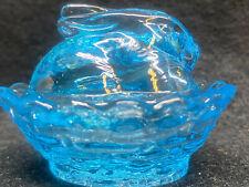 Blue Vaseline Uranium glass Bunny rabbit on nest basket Easter selenium salt dip