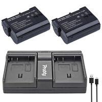 2Pcs EN-EL15  + USB Dual Charger For Nikon D7000 D500 D7100 D800 D800E D600 D610