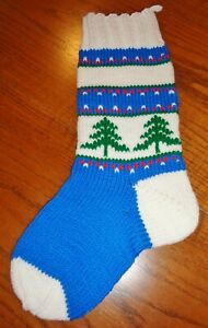"""Vintage Hand Knit Blue Christmas Stocking Trees 19"""""""