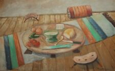 ANTIQUE IMPRESSIONIST STILL LIFE OIL PAINTING FOOD AND VEGETABLES SIGNED