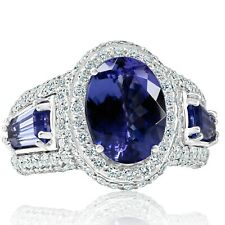 GIA Certified 7.16Ct Oval Cut Violet Tanzanite Diamond Engagement Ring 18k Gold