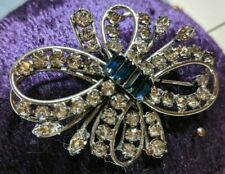 HSB Harry Bick Signed Sterling Silver Crystal Navy Rhinestones Bow Pin Brooch 2""